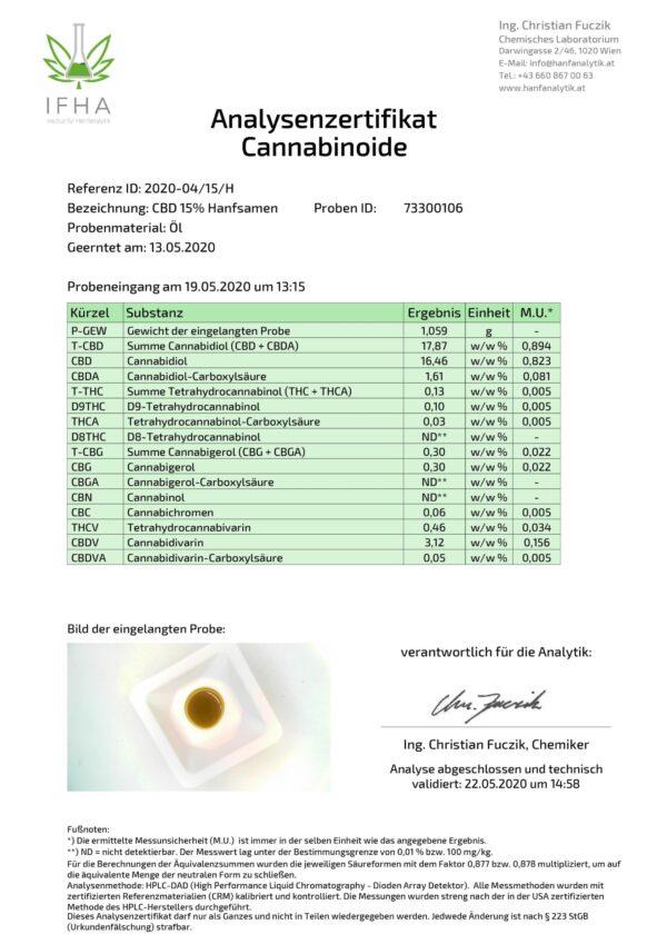 Hanftropfen ANalyse Labor 15%