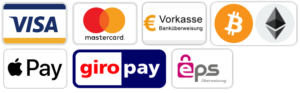 BEzahlen mit Überweisung, Kreditkarte, Giropay oder Bitcoin